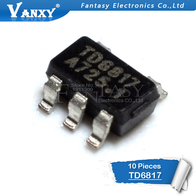 10pcs TD6817 1.5MHz 2A Synchronous Step-Down Regulator Dropout SOT-23-5pin