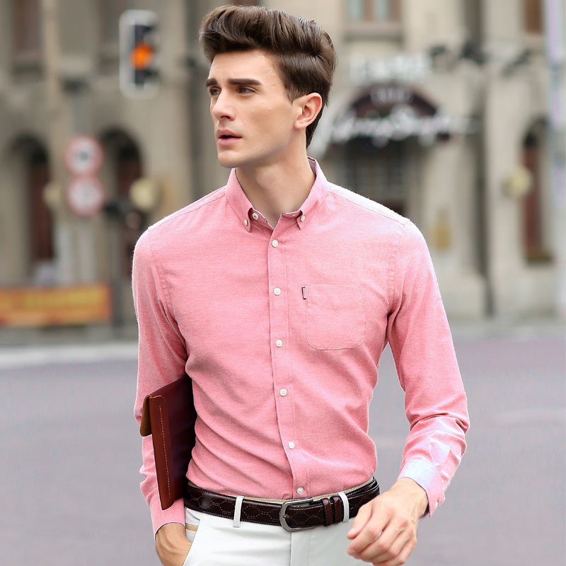 New Fall 2015 Men's Long sleeved Shirt Korean Slim Solid Color ...