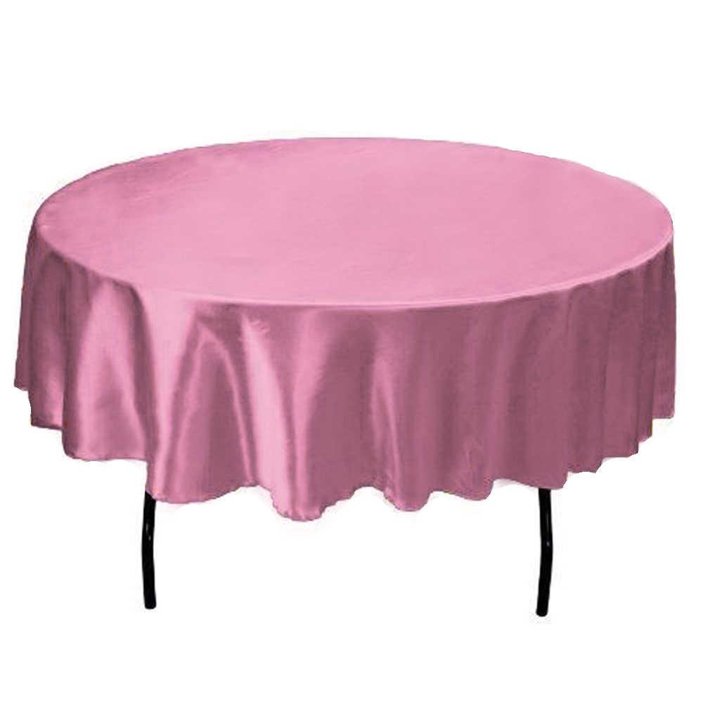 145 cm Satijn Tafelkleed Ronde Tafelkleed stof Tafelkleed Voor Thuis Bruiloft restaurant Party Kerst Decoratie paars roze