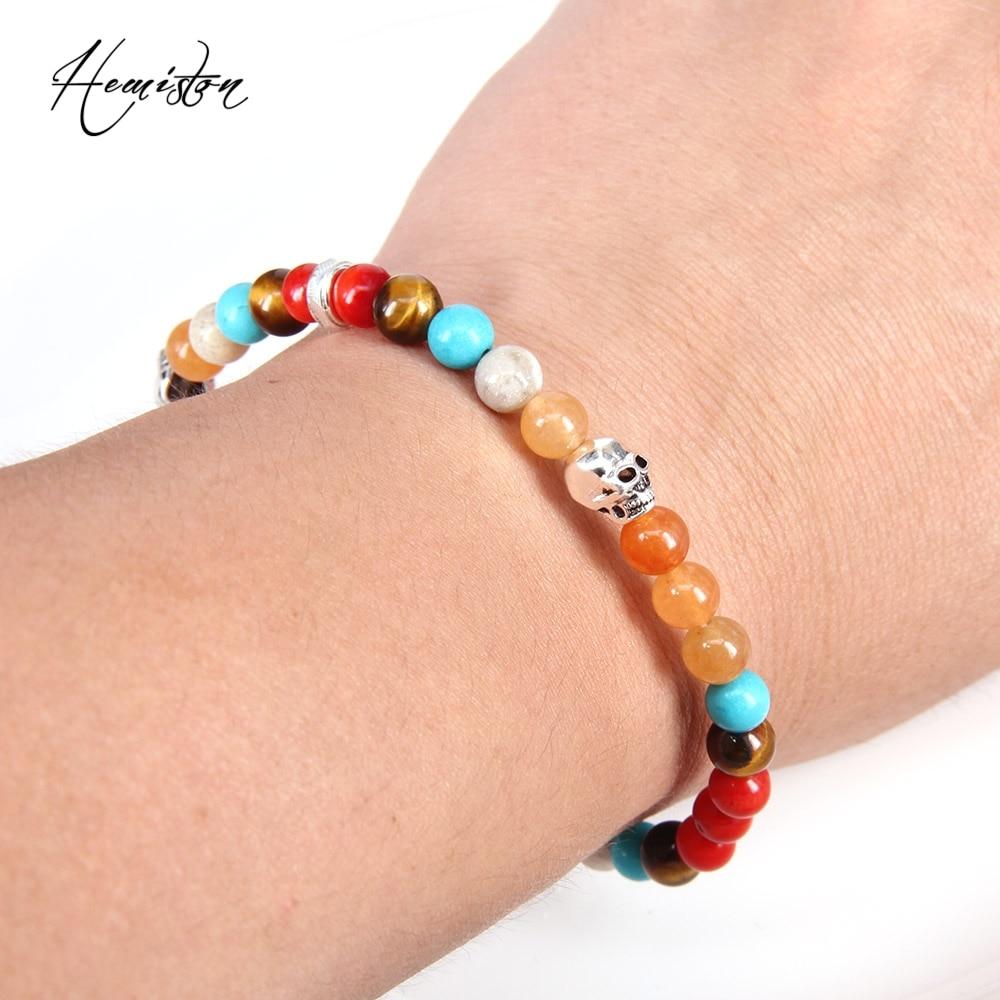 Thomas kleurrijke materiaalmix met kleine schedel kralen armband, - Mode-sieraden - Foto 5