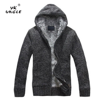 YK UNCLE 2019 Spring Autumn Casual Men's Hooded Sweater Coat Faux Fur Wool Sweater Jackets Men Zipper Knitted Thick Coat M XXL