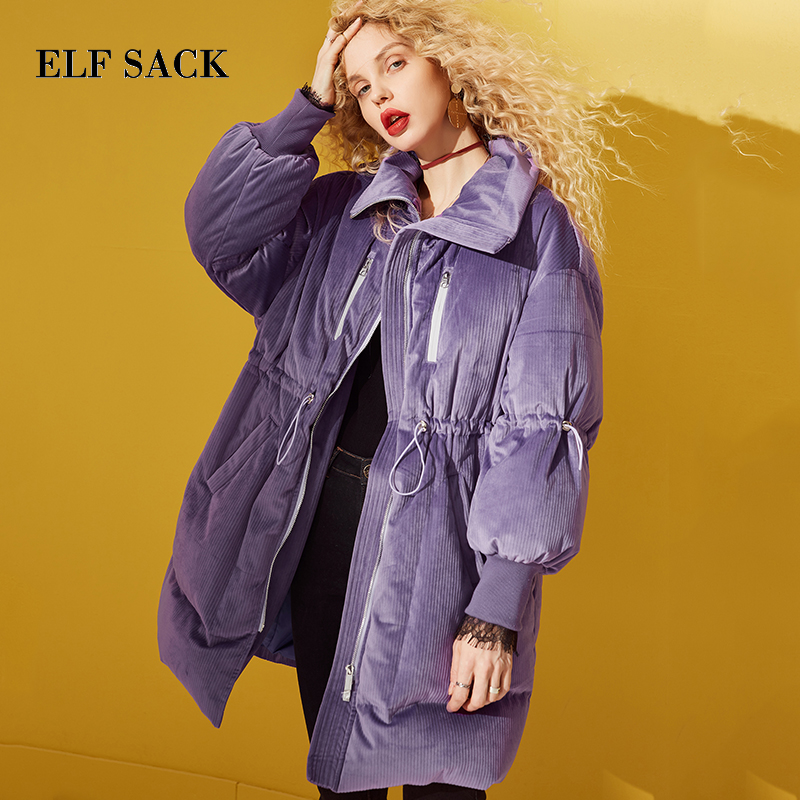 ELF SACK New Fashion Thick   Down   Jackets Woman Full Solid 90% White Duck   Down     Coat   Women Casual For Female   Coats   Winter Wearing