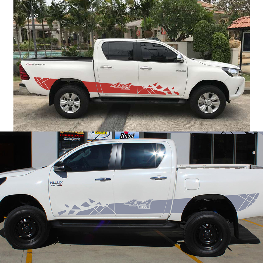 2PC cool racing side door 4X4 styling stripe graphic Vinyl pickup decals FOR TOYOTA HILUX VIGO REVO car accessories stickers 2015 2017 car wind deflector awnings shelters for hilux vigo revo black window deflector guard rain shield fit for hilux revo