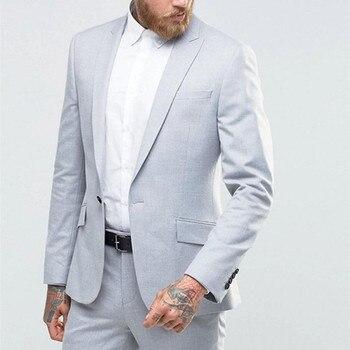 Light Grey Mens Suits Best Man Suits Blazer (Jacket+Pants) 2017 Groom men suit Tuxedos Groomsmen Wedding Party Dinner wear