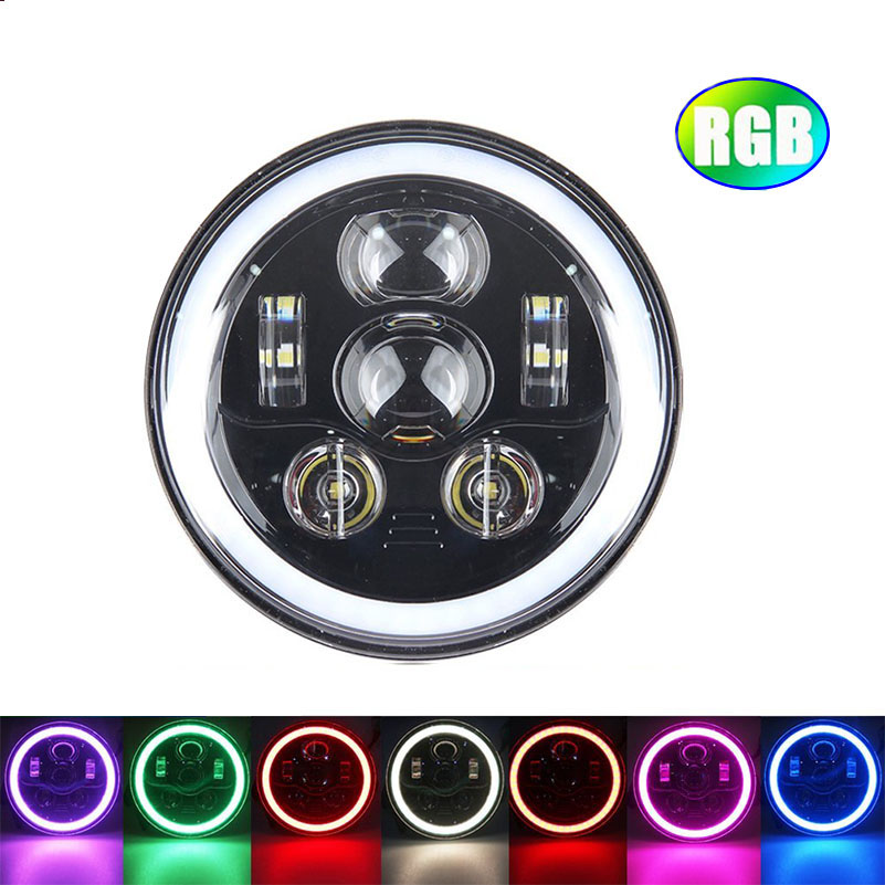 7 inch LED Headlight RGB Halo Ring Angel Eyes 745W  For Jeep Wrangler JK TJ LJ Sahara Rubicon Sport Unlimited Hummer H1 H2. 1 set black projector headlight 7 inch auto headlamp with halo ring for jeep wrangler unlimited rubicon sahara jk harley