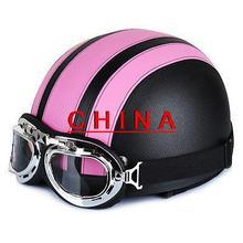 Розовый и Черный Мотоцикл Скутер ПУ Кожа Открытым Лицом Половина Шлем ж/Козырек + Очки *