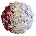 Роскошные Алмаз Искусственные Цветы Красный Белый Холдинг Цветочный Кристалл Брак Невесты Свадебные Букеты Цветы Рамо Де Novia W240