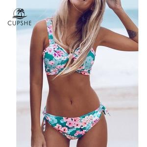 Image 1 - Cupshe Dubbele Knoop Bloemenprint Bikini Sets Vrouwen Sexy Thong Twee Stukken Strand Badpakken 2020 Girl Boho Badmode