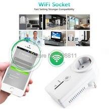 Wifi prise murale interrupteur de domotique à distance téléphone Plug ue adaptateur pour Iphone 6 6 S / 6 PLUS / 5C / 5S SE / pour Samsung S6 S5 SmartPhone