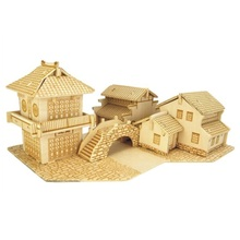 Puzzle de madeira Chinês Jiangnan Aldeia Água Brinquedo de Simulação de Construção de Costura De Madeira Casa Modelo 3D Brinquedo Educação