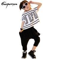 جديد تماما الفتيات hiphop الرقص بنات السببية الملابس قميص و السراويل تناسب الأطفال ملابس الاطفال ملابس تناسب الفتيات مجموعة