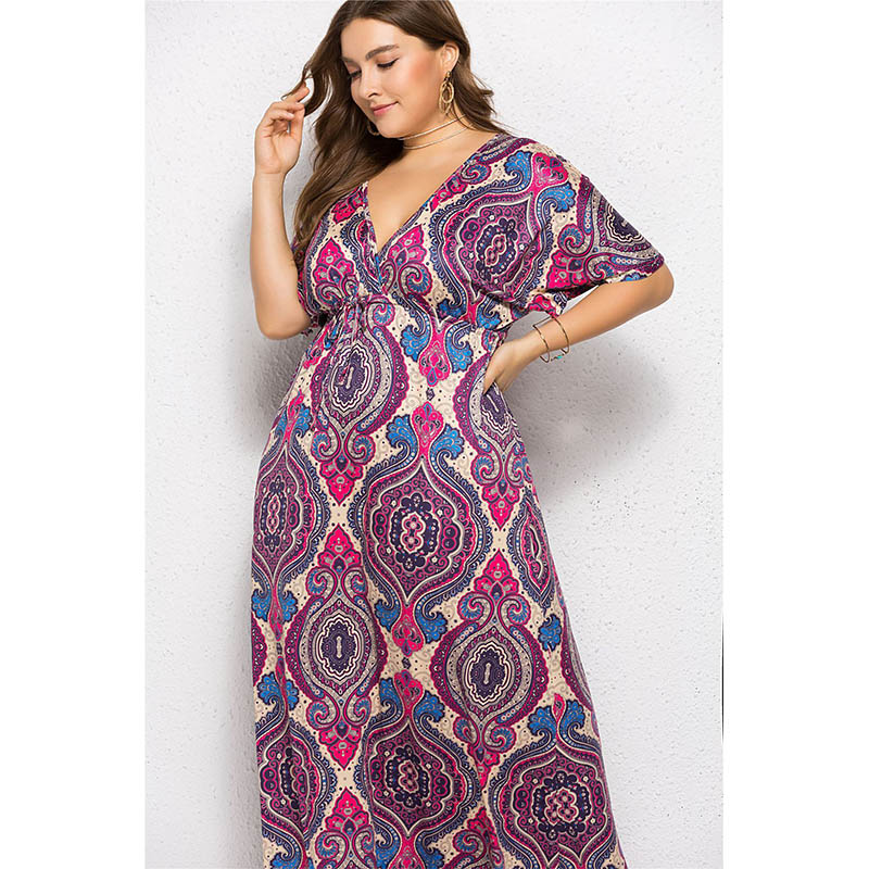 Women Print Floral Oversized Maxi Dresses Sexy Deep V Neck Open Back Elastic Waistband Ethnic Loose Gown Dress For Ladies 2019 in Dresses from Women 39 s Clothing
