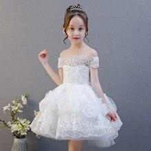 Sommer Neue 3 15 Jahre Kinder Mädchen Weiß Geburtstag Hochzeit Party Prinzessin Spitze Kleid kinder Sleevelesss Kostüm Jugendliche Kleid