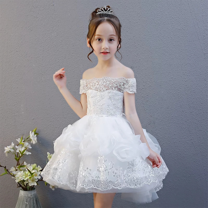 все цены на Summer New 3-15 Year Children Girls White Birthday Wedding Party Princess Lace Dress kids Sleevelesss Costume Teenagers Dress онлайн