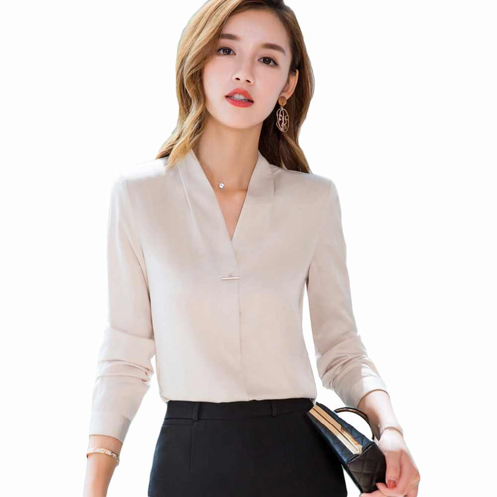 ae7f79de16289c plus size 4XL Women silk satin blouse long sleeve ladies office work shirts  elegant women silk