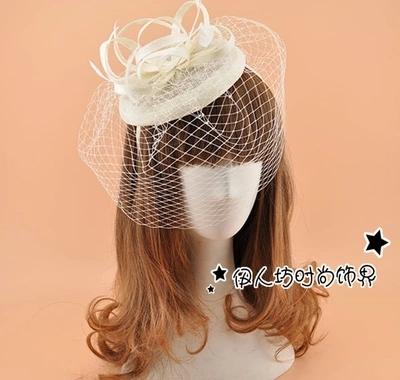 Marfim chapéus de noiva para pena de casamento barato Fascinator chapéus chapéu de casamento véus acessórios de cabelo nupcial do casamento voile mariage