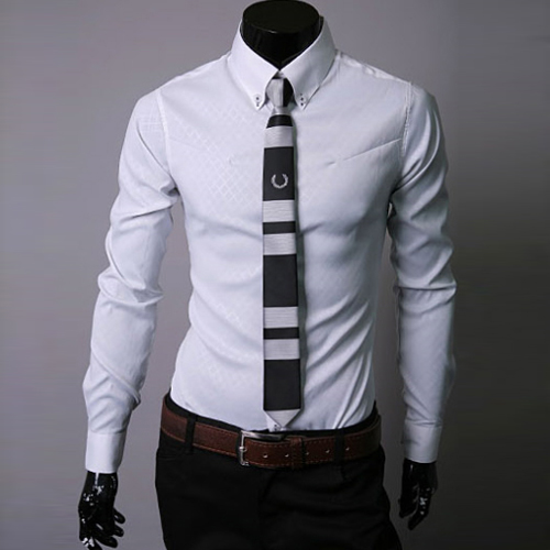 5xl grid men dress shirt fashion long sleeve casaul slim for Mens dress shirt sleeve length