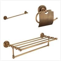 3 Piece suit Brass bathroom accessories shelf, Antique bathroom shelf hooks towel bars set, copper bathroom accessories set