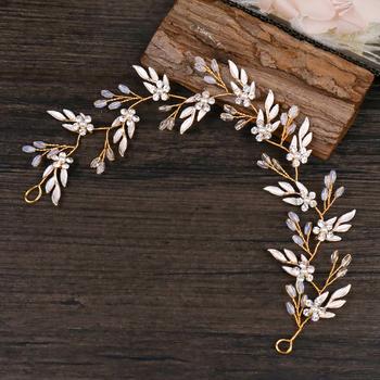 Vintage Gold opaski ozdoby do włosów liście Rhinestone Flower Hairbands dla kobiet dziewczyna chluba ślubne akcesoria do włosów prezenty tanie i dobre opinie Moda Hairwear PLANT Ze stopu cynku Kobiety Kryształ TUANMING FD601 Archiwalne 30cm