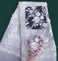 Чистый белый Вышивка Тюль Кружева бисером африканских французский шнурок швейная ажурная ткань с аппликациями бусы 5 ярдов 6279