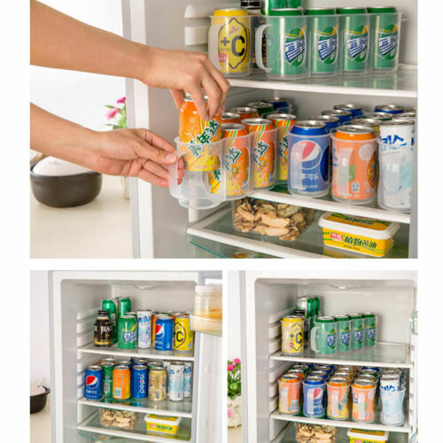 Ev ve Bahçe'ten Raflar ve Tutucular'de Mutfak Depolama Yeni Beers Soda Kutular Tutucu Depolama Mutfak Organizasyon Buzdolabı Raf Plastik Uzay