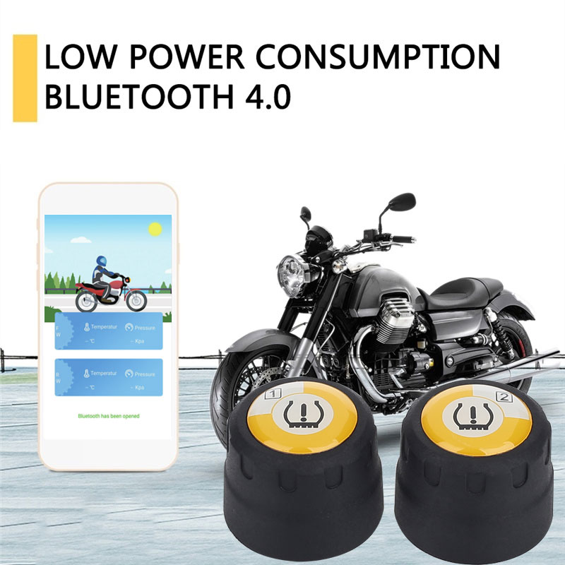 TPMS Motorcycle Bluetooth Tire Pressure Monitoring System Download Mobile Phone APP Detection 2 External Tyre Pressure Sensors(China)