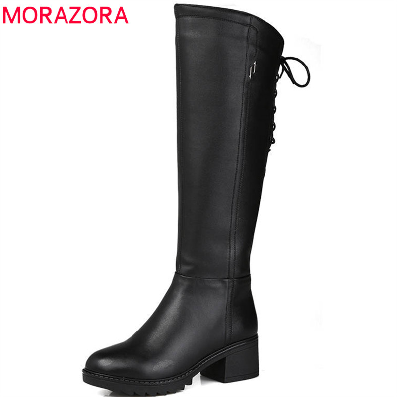 MORAZORA 2018 new fashion knee high boots women genuine leather wool boots round toe zip +lace up winter snow boots shoes woman