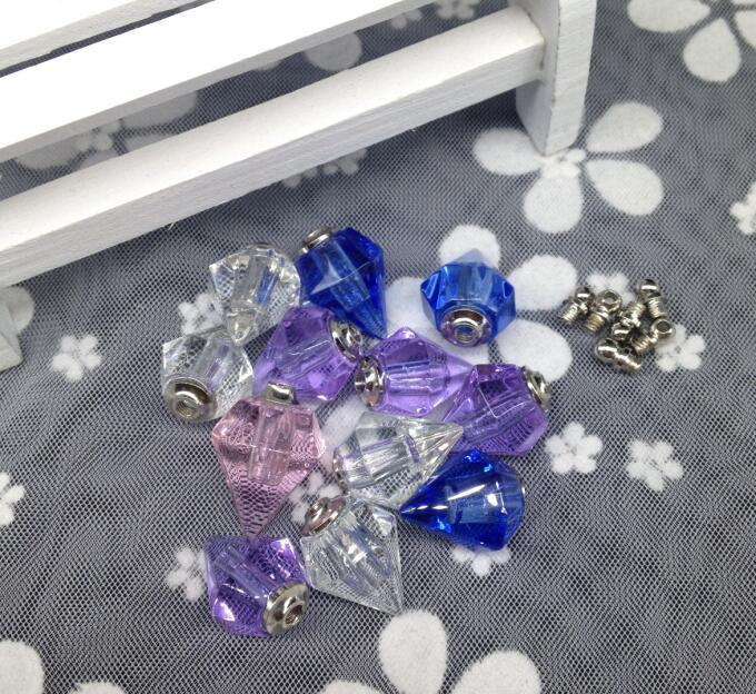 500pcs screw cap cone shape vial pendant Crystal Perfume Essential oil wishing bottle Necklace Pendant name