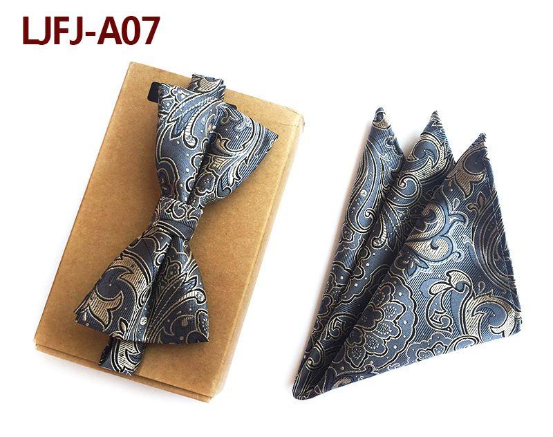 Мужской модный галстук набор полиэфирных шелковых галстуков наборы из двух частей жаккардовые галстуки для мужчин галстук носовой платок галстук-бабочка - Цвет: LJFJ-A07