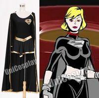 Dark Supergirl Black Dress Cosplay Costume with Robe Halloween Cloak Uniform for Woman Girls Battle Suits