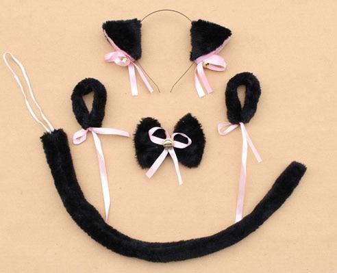 Повязка на голову с ушками neko в виде животных, белого, черного цвета, кота, тигра, аниме, хвоста 60 см, плюшевые перчатки, рождественские, пасхальные, вечерние, для взрослых и детей - Цвет: style 6