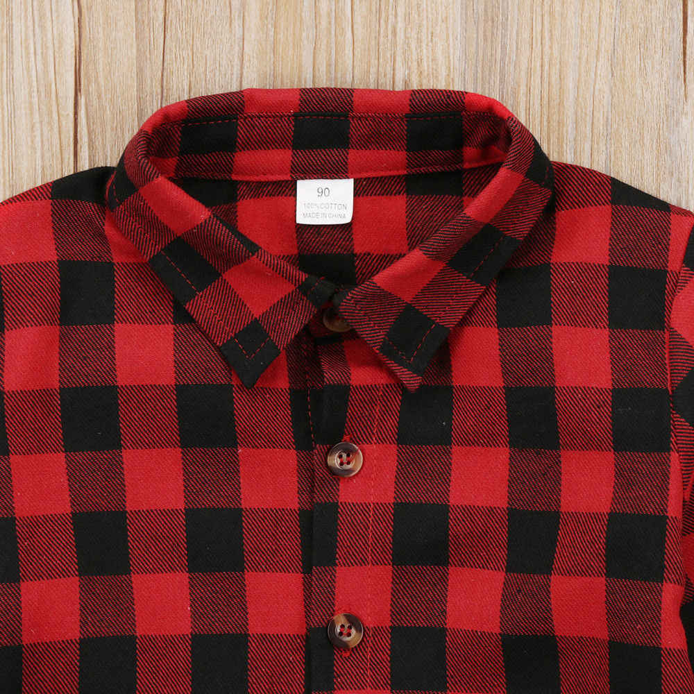 7f8c6fcf1 ... 2018 Brand New Casual Toddler Infant Child Kids Baby Boy Girl Printed Plaid  Tops Long Sleeve ...