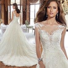 Fansmile מתוקה Vestidos דה Novia רקמת תחרת קו חתונת שמלת 2020 שמלות כלה בתוספת גודל מותאם אישית FSM 568T