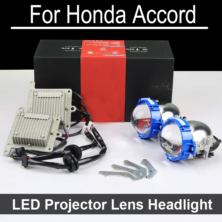 Error Free Hi Low LED Projector lens headlight Assembly  For Accord with halogen headlamp ONLY Retrofit Upgrade (2004-2015) bi xenon car led projector lens assembly for mercedes benz m w163 w164 with halogen headlight only retrofit upgrade 1998 2008