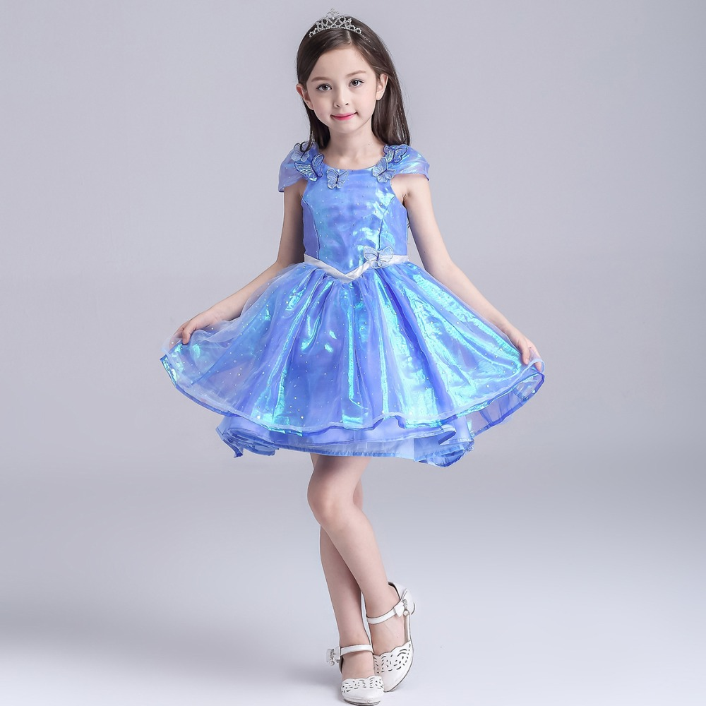 Compare prices on cinderella wedding dress blue online shopping cinderella costume kid summer princess elsa cinderella dress for baby girl halloween costume evening party blue ombrellifo Images