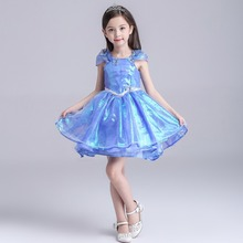 Cinderella costume kid summer princess elsa dress for baby girl Halloween Costume Evening party Blue wedding