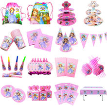 Disney Princess Sofia Theme Paper Cup Plate Napkin Straw Tablecloth Wedding Kid Girl Birthday Gift Bag Banner Candy Box Supply(China)