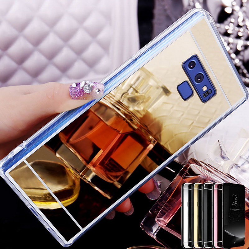 Luxury Mirror Flash Case For Samsung Galaxy S10 Plus S10e S9 S8 J4 J6 A7 A6 A8 2018 S7 Edge Note 9 8 Plating Silicon Soft Cover