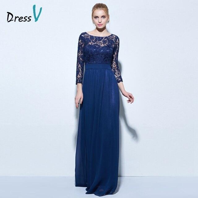 Платье с вырезом лодочкой, ТРАПЕЦИЕВИДНОЕ кружевное вечернее платье темно-синего  цвета, длина 3 ecbb3f29185