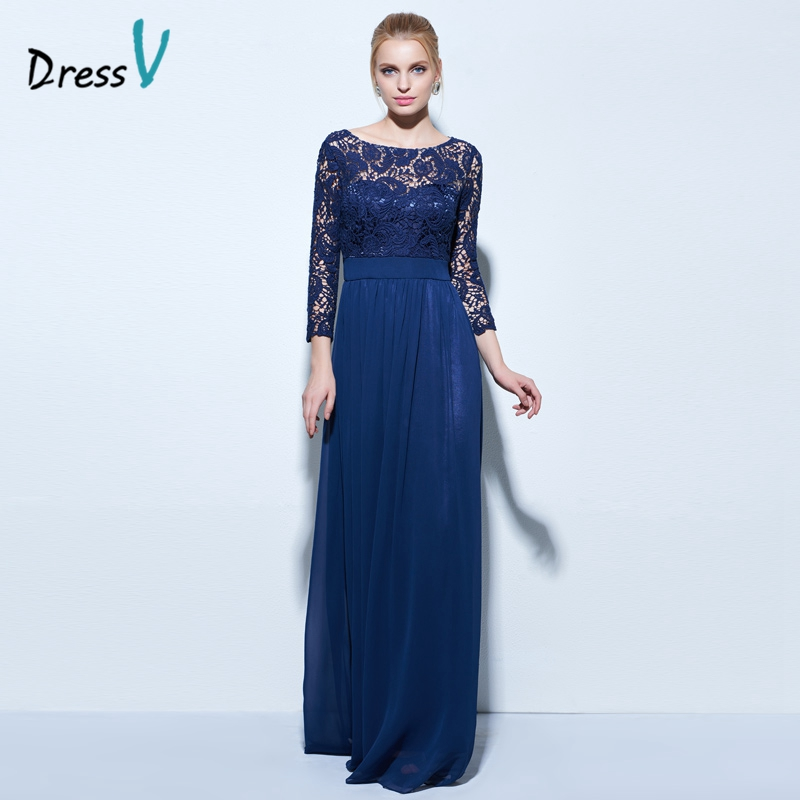 Dressv Boat Neck A Line Lace Evening Dress Dark Navy 3 4 Length Sleeves Zipper Up
