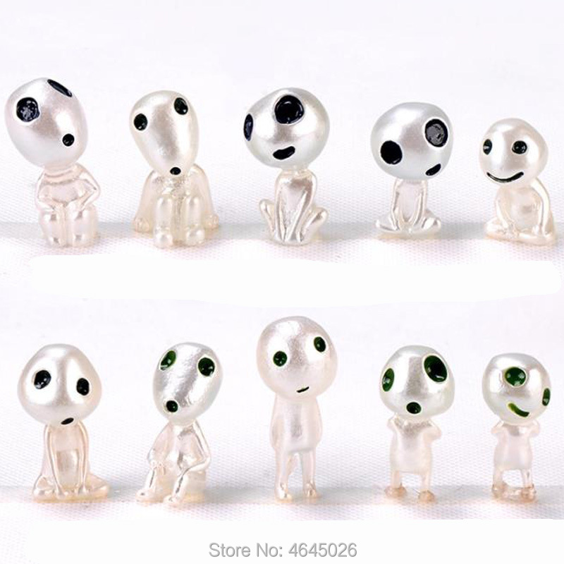 Image 2 - 5pcs Princess Mononoke Luminous Studio Ghibli Resin Action Figure Kodamas Glow in dark Figurines Elf Tree Dolls Model Kids Toys-in Action & Toy Figures from Toys & Hobbies