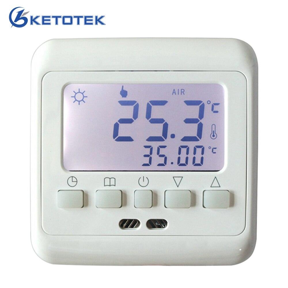 Neue Fußbodenheizung Thermostat mit Weißer Hintergrundbeleuchtung LCD Schlüssel Wöchentliche Programmierbare Zimmer Warm Temperaturregler