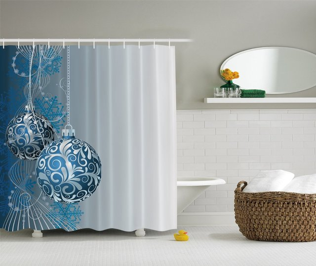 WARM TOUR Blue Silver Holiday Christmas Fashion Shower Curtain Polyester Hotel Bathroom With Hooks