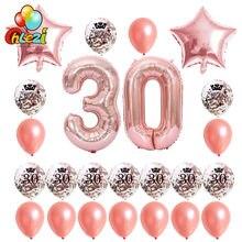24 adet gül altın doğum günü balonları 18 21 30 40 50 60th altın gümüş konfeti topu 40 inç numarası balon parti dekorasyon malzemeleri