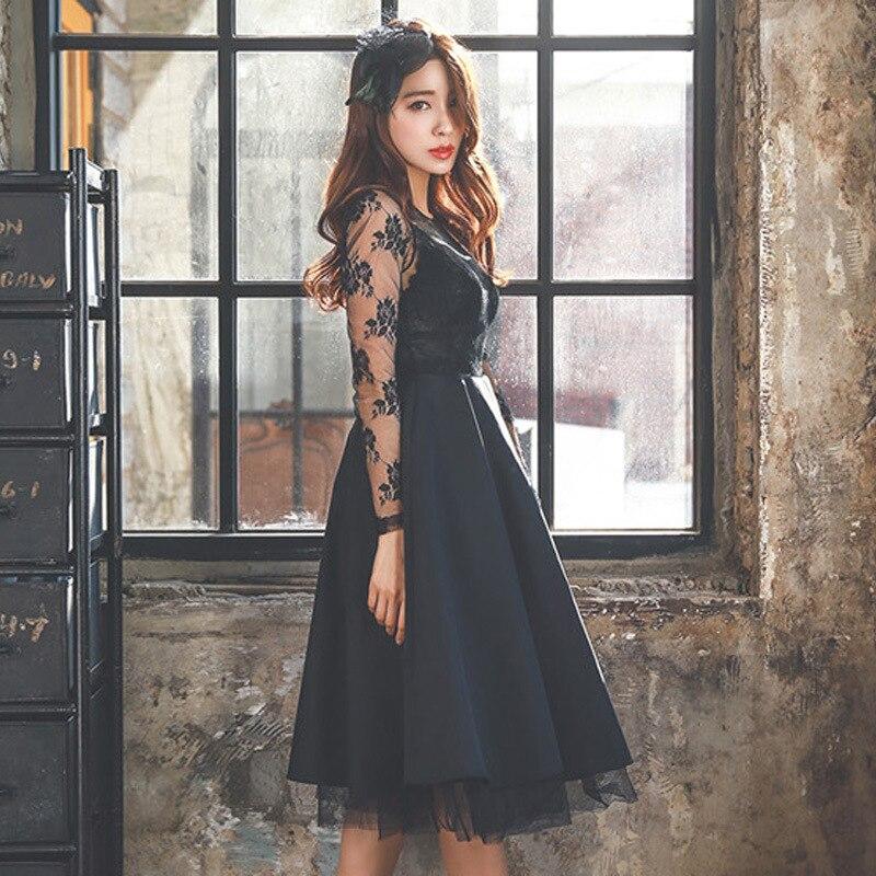 7e8c20bc16707 Women sexy Black Lace Dresses Europe Vintage formal dress High-gra...