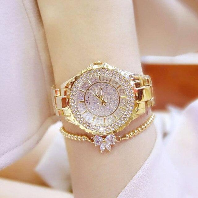 2018 new fashion top brand luxury watch women gold diamond silver ladies wrist w