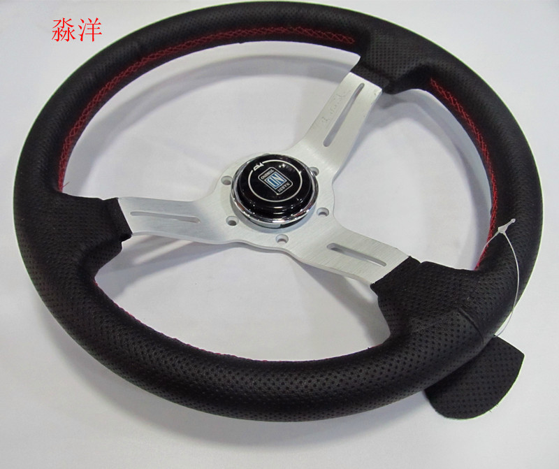 Racing sport desaign 330mm 13Inch Silver Color Spoke Deep Dish Real Leather ND Tuning Drifting Racing Steering WheelRacing sport desaign 330mm 13Inch Silver Color Spoke Deep Dish Real Leather ND Tuning Drifting Racing Steering Wheel