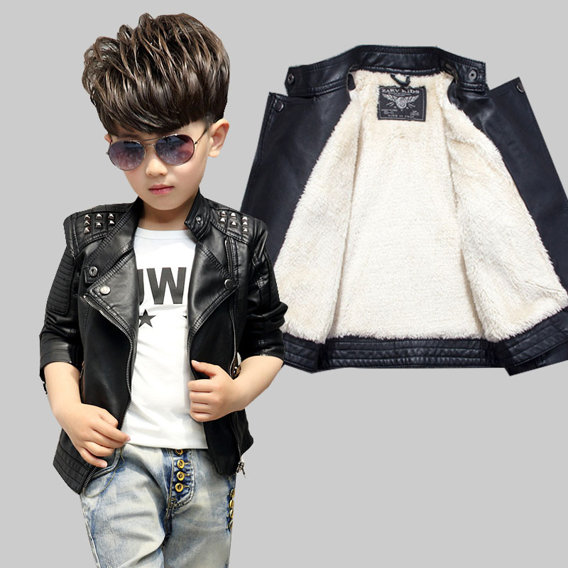 Fashion Boy Black Leather Jackets Clothing Autumn Winter Thick Warmer Coat Kids PU Leather Boys Zipper Children Outerwear C11 стоимость