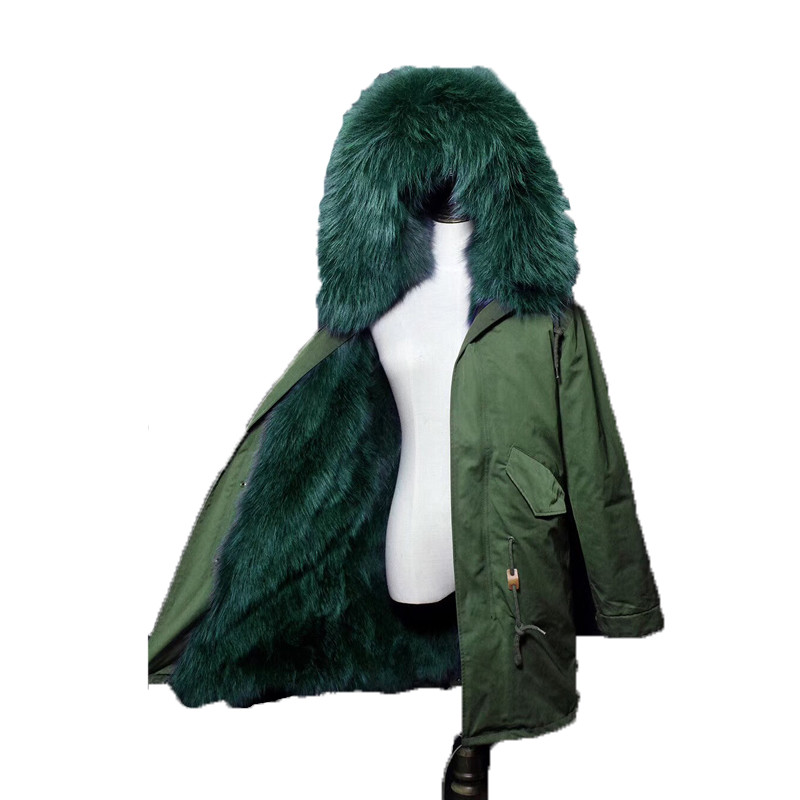 New Army Green Long Raccoon Fur Collar Coat Women Winter Real Fox Fur Liner Hooded Jacket Women Bomber Parka Female Ladies FP890 2017 winter new clothes to overcome the coat of women in the long reed rabbit hair fur fur coat fox raccoon fur collar