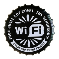 Wifi Beer Bottle Cap Plate Vintage Round Plaque Metal Sign Art Poster Home Party Bar Pub Club Wall Decor Painting 35CM B013